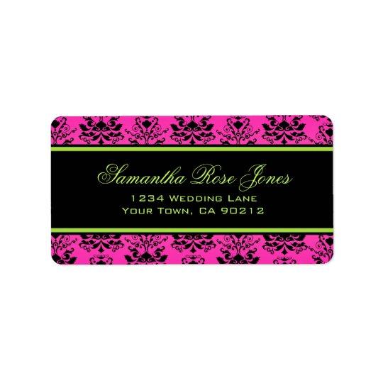 Green Pink and Black Damask Elegant Address Label