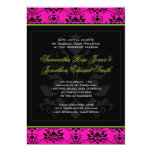 Green Pink and Black Damask Wedding Invitation