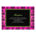 Green Pink and Black Damask Wedding Reception Card Invitations