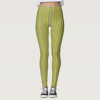 Green Pink and Mint Stripes Leggings