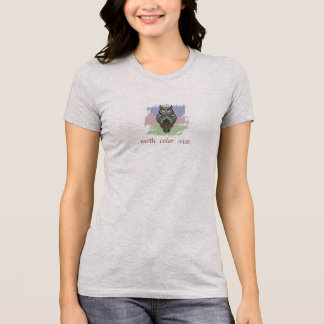 Green Pink Blue Earth Color Wise Owl template T-Shirt