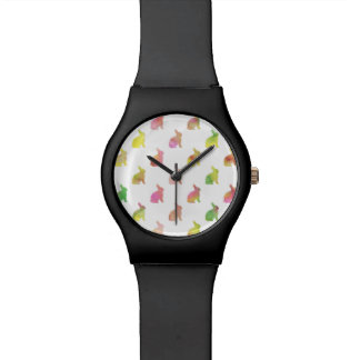 Green Pink Blue Watercolor Bunny Background Wrist Watch