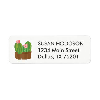 Green Pink Cactus Flower Return Address Label
