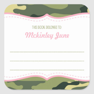 Green & Pink Camouflage bookplate book plate Square Sticker