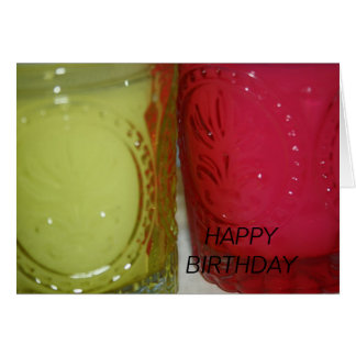 Green-Pink Candle Jars HAPPY BIRTHDAY Card