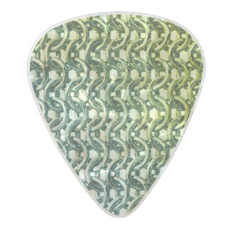 Green Pink Chainmail Metal Armor Metallic Look Pearl Celluloid Guitar Pick
