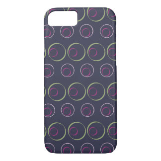 Green & pink circle pattern on grey background iPhone 8/7 case