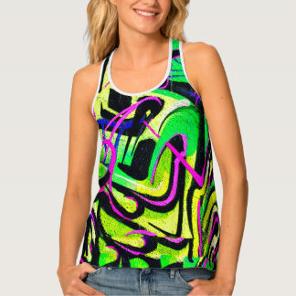 Green Pink Distressed Graffiti Singlet
