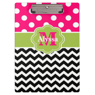 Green Pink Dots Chevron Personalized Clipboard