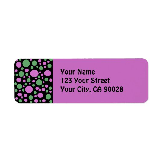 green pink dots return address label