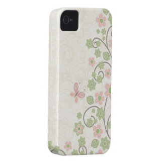 Green pink floral pattern stylish iphone 4 case