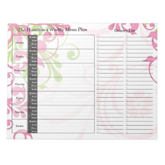 Green Pink Floral Weekly Personalised Meal Planner Scratch Pads
