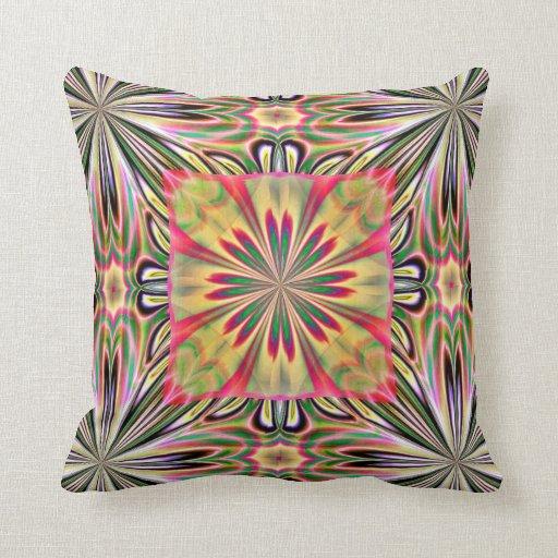 Green Pink Flower American MoJo Pillows
