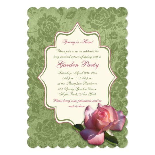 Green Pink Ivory Rose Damask Garden Party Invite