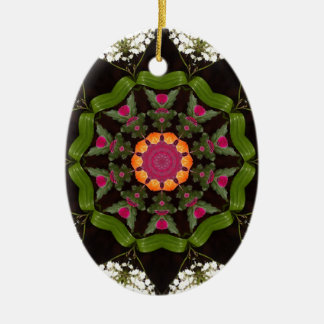Green Pink Kaleidoscope Christmas Ornament