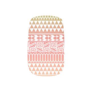 Green Pink Ombre Geometric Aztec Tribal Pattern Minx Nail Art