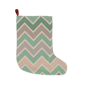 Green Pink Peach Chevron Large Christmas Stocking