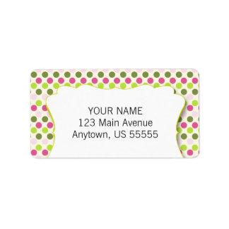 Green & Pink Polka Dot Pattern Label
