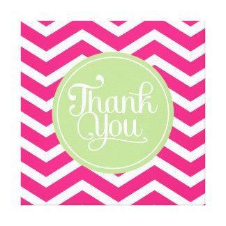 Green Pink Thank You Chevron Canvas Print