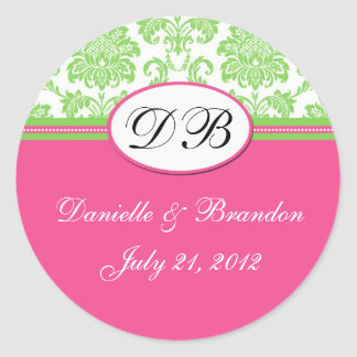 Green Pink Wedding Monogram Damask Seal Round Sticker
