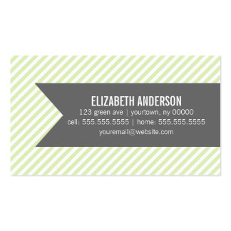 Green Pinstripes Pattern Pack Of Standard Business Cards