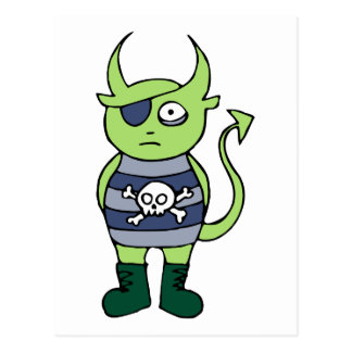 Green Pirate Monster Postcard