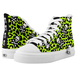 Green Pirate Rockabilly Psychobilly Leopard Print High Tops