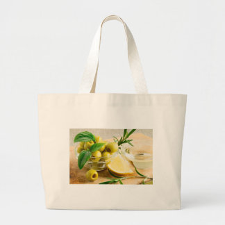 Green pitted olives decorated with herbs large tote bag