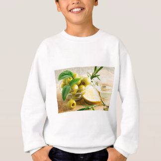 Green pitted olives decorated with herbs sweatshirt