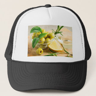 Green pitted olives decorated with herbs trucker hat