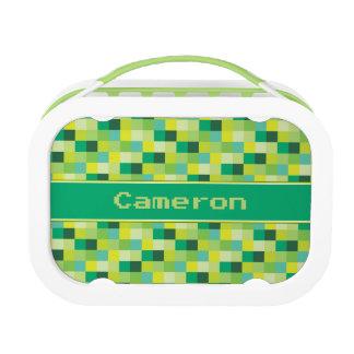 Green Pixelated Pattern | Personalized Lunch Box