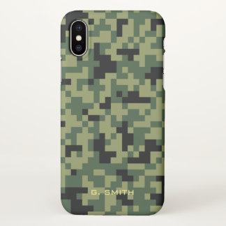 Green Pixels Camouflage. Camo your iPhone X Case