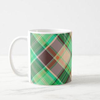 Green Plaid Abstract Design Mug