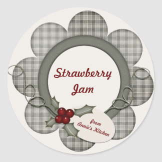 Green Plaid and Holly Round Stickers