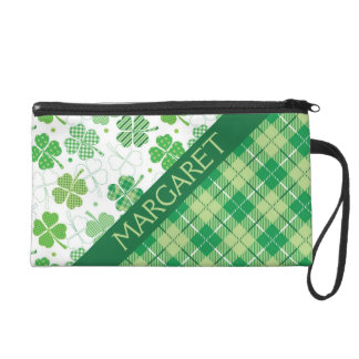 Green Plaid and Shamrocks Wristlet