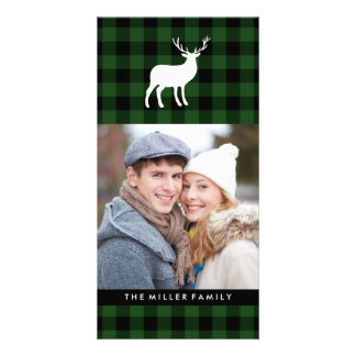 Green Plaid and White Stag | Holiday Picture Card