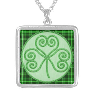 Green Plaid Border Shamrock Necklace Square Pendant Necklace