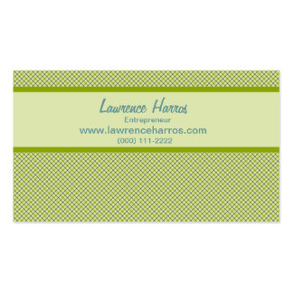 Green Plaid Business Card Template