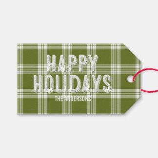 Green Plaid Christmas Happy Holidays Gift Tag