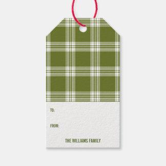 Green Plaid Christmas Holiday Gift Tag