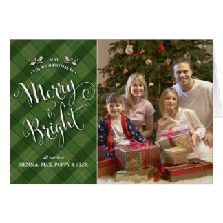 Green Plaid Christmas Photo Card | Merry & Bright