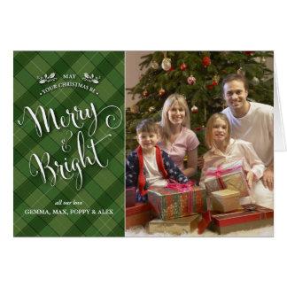 Green Plaid Christmas Photo Card | Merry & Bright
