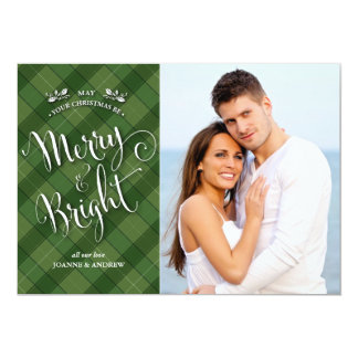 Green Plaid Christmas Photo Card   Merry & Bright Personalized Announcement