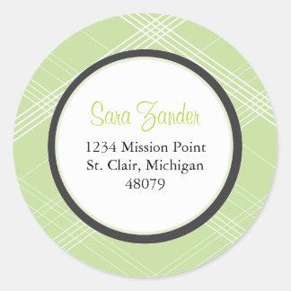 Green Plaid Favor Sticker or Address Label