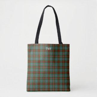 Green Plaid Fraser Hunting Tartan Monogram Tote Bag