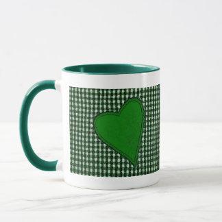 Green Plaid Heart Mug