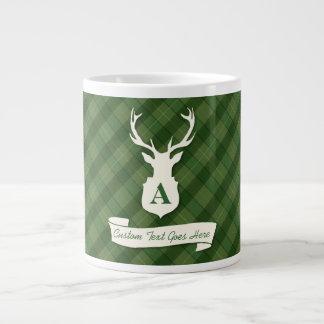 Green Plaid Jumbo Mug | Stag Head and Custom Text 20 Oz Large Ceramic Coffee Mug