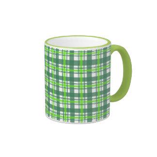 Green Plaid Ringer Mug