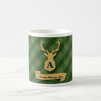 Green Plaid Mug with Stag Head and Custom Message