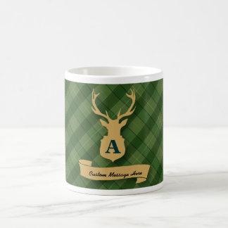 Green Plaid Mug with Stag Head and Custom Message